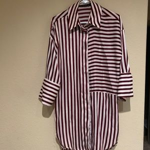 Zara Striped High-Low Shirt Dress
